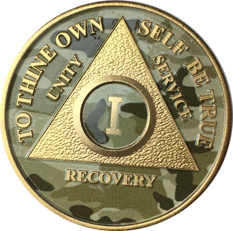 Camo & Gold Plated AA Medallion Any Year or Month 1 - 65 Alcoholics Anonymous Chip - RecoveryChip