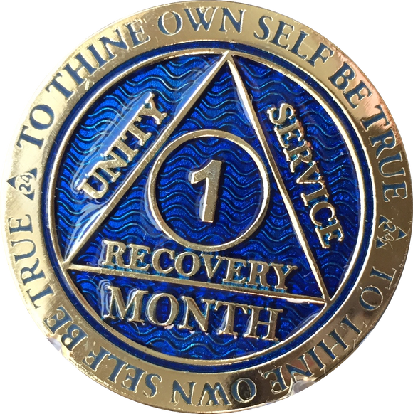 1 Month AA Medallions Bronze Gold Plated and Color Sobriety 30 Day Medallion Chip Coin - RecoveryChip