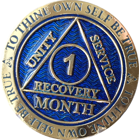 1 - 11 Month AA Medallion Reflex Blue Gold Plated Sobriety Chip Coin