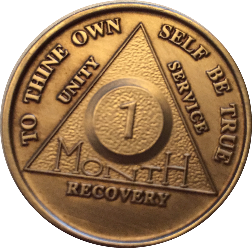 AA Blue Gold 5 Year Coin Tri-Plate Alcoholics Anonymous Medallion Sober Sobriety