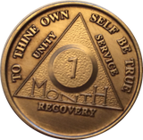 AA Month Medallion Bronze Alcoholics Anonymous Sobriety Chip Coin 1 2 3 4 5 6 7 8 9 10 11 - RecoveryChip