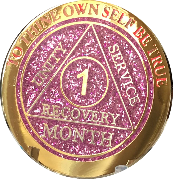 1 2 3 6 9 or 18 Month Reflex Pink Glitter AA Medallion Sobriety Chip - RecoveryChip