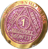 1 Month AA Medallions Bronze Gold Plated and Color Sobriety 30 Day Medallion Chip Coin