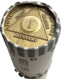 AA Medallion Bulk Lot Roll of 25 Bronze chips.  Year 1 - 65 - RecoveryChip
