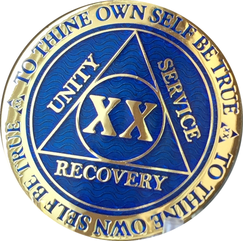 20 Year AA Medallion Reflex Blue Gold Plated Alcoholics Anonymous RecoveryChip Design - RecoveryChip