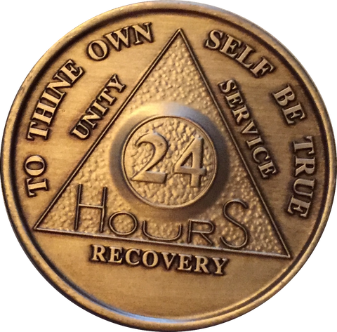 24 Hours AA Medallion Bronze Alcoholics Anonymous Sobriety Chip Coin - RecoveryChip