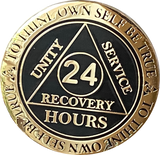 24 Hours AA Medallion Elegant Black Gold Plated Alcoholics Anonymous RecoveryChip Design - RecoveryChip