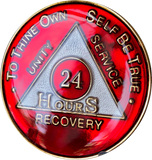 24 Hours AA Metallic Red Tri-Plate Medallion Sobriety Chip - RecoveryChip