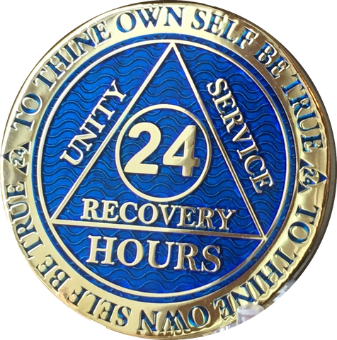 24 Hours AA Medallion Reflex Blue Gold Plated Alcoholics Anonymous RecoveryChip Design - RecoveryChip