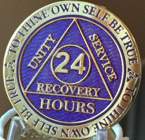 24 Hours AA Medallion Reflex Purple Gold Plated Alcoholics Anonymous RecoveryChip Design - RecoveryChip