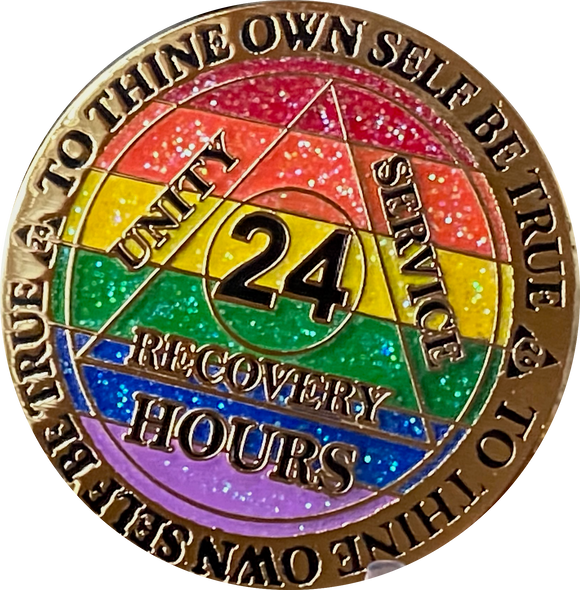 24 Hours AA Medallion Reflex Rainbow Glitter Gold Plated Alcoholics Anonymous RecoveryChip Design