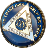 Midnight Blue AA Medallion Chip Tri-Plate Gold & Nickel Plated Year 1-15 Years BSP - RecoveryChip