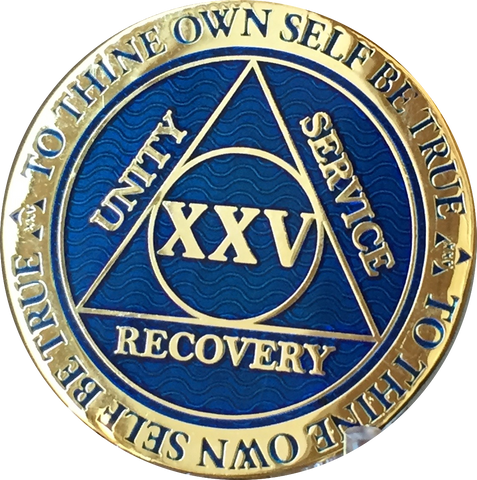 25 Year AA Medallion Reflex Blue Gold Plated Alcoholics Anonymous RecoveryChip Design - RecoveryChip