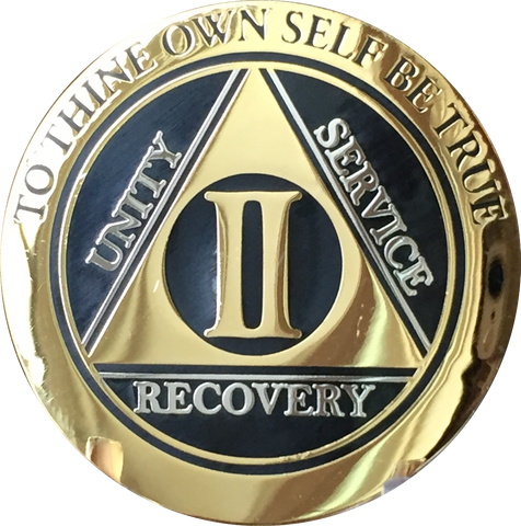 2 Year AA Medallion Elegant Black Gold & Silver Plated RecoveryChip Design - RecoveryChip
