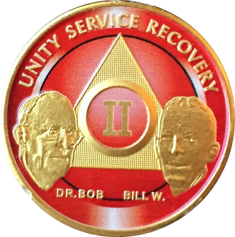 AA Alcoholics Anonymous 20 Year Founders Bronze Medallion Chip Bill W Dr Bob