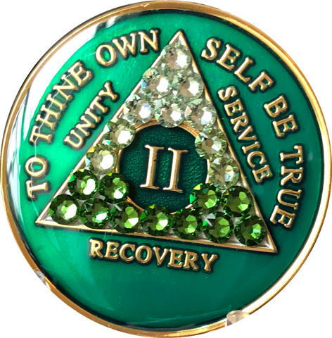 Crystallized AA Medallion Transition Green Tri-Plate Sobriety Chip Year 1 - 50 - RecoveryChip