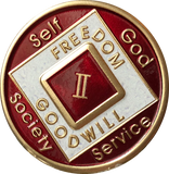 Offical NA Triplate Red & White Color Narcotics Anonymous Medallion 18 Month Year 1 - 50 - RecoveryChip