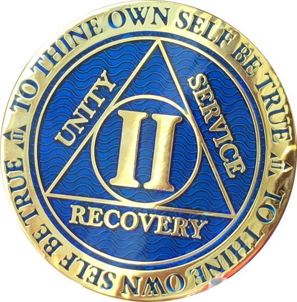 2 Year AA Medallion Reflex Blue Gold Plated Alcoholics Anonymous RecoveryChip Design - RecoveryChip