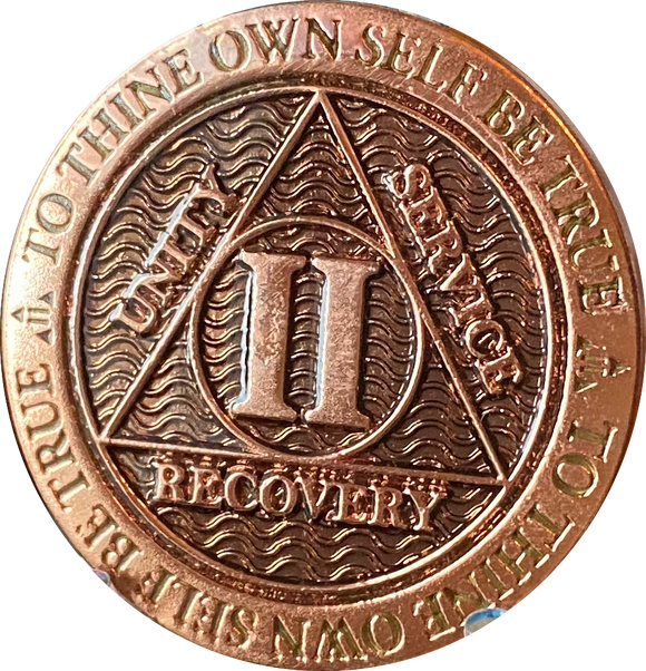 2 Year Copper Plated AA Medallion Reflex Black Design By Recoverychip.com