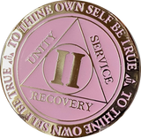 1 or 2 Year AA Medallion Reflex Glow In The Dark Gold Plated Pink Sobriety Chip