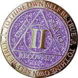 1 - 10 Year AA Medallion Reflex Glitter Lavender Purple Gold Plated Sobriety Chip