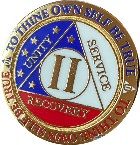2 Year AA Medallion Reflex Red White & Blue Patriotic Gold Plated Sobriety Chip
