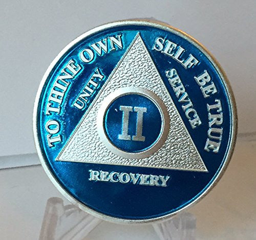 Blue & Silver Plated Any Year 1 - 65 AA Chip Alcoholics Anonymous Medallion Anniversary Coin - RecoveryChip