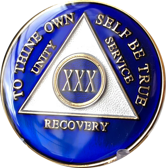 1 - 50 Year or 18 Month Blue Tri-Plate AA Medallion - RecoveryChip