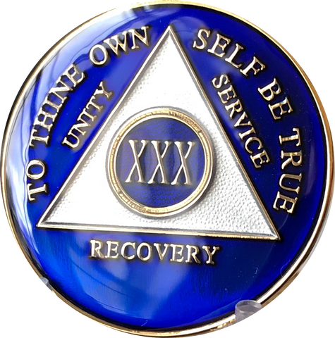 1 - 50 Year Blue Tri-Plate AA Medallion - RecoveryChip