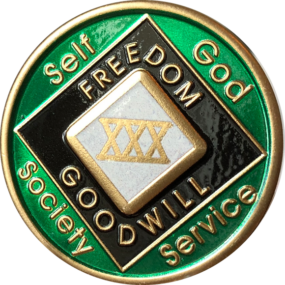 Offical NA Tri-Plate Green Pearl & Black Color Narcotics Anonymous Medallions 18 Month Year 1 - 50 - RecoveryChip