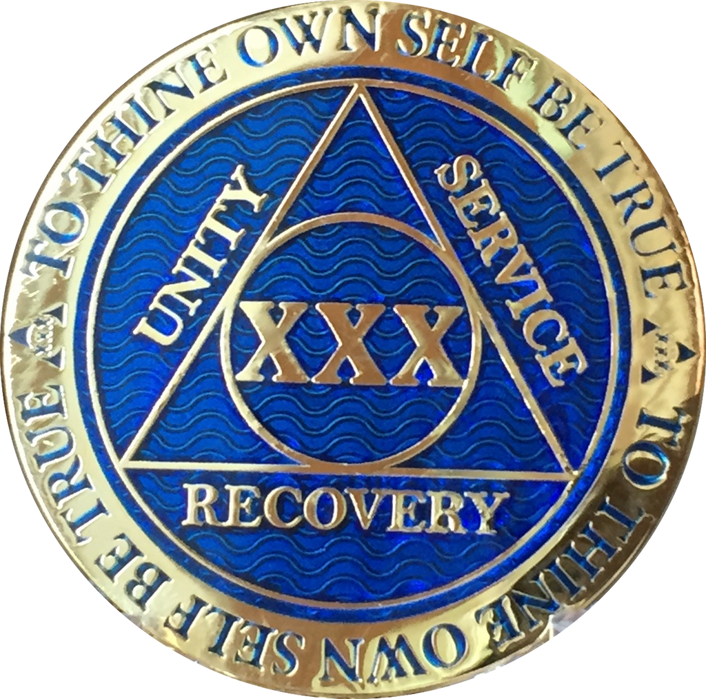 30 Year AA Medallion Reflex Blue Gold Plated Alcoholics Anonymous RecoveryChip Design - RecoveryChip