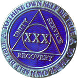 30 Year AA Medallion Reflex Purple Silver Plated Sobriety Chip Coin - RecoveryChip