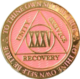 1 - 40 Year AA Medallion Reflex Pink Gold Plated Alcoholics Anonymous RecoveryChip Design - RecoveryChip