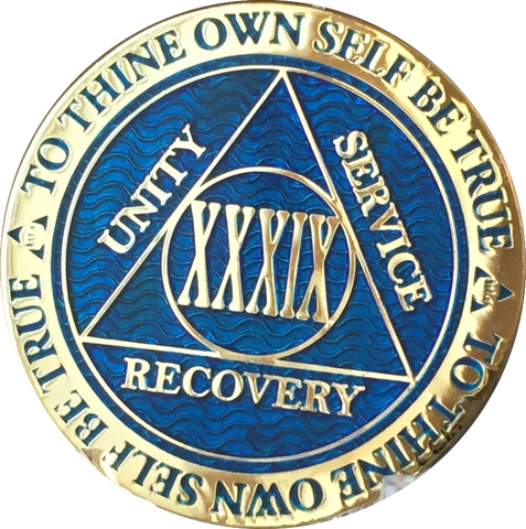 39 Year AA Medallion Reflex Blue Gold Plated Alcoholics Anonymous RecoveryChip Design - RecoveryChip