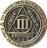 1 - 10 Year Reflex Chocolate Bronze AA Medallion Sobriety Chip - RecoveryChip