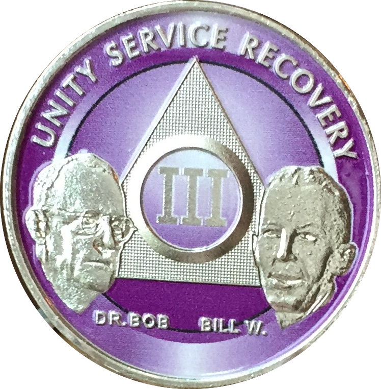 AA Founders Chip Nickel Plated Purple Alcoholics Anonymous Medallion Any Year 1 - 65