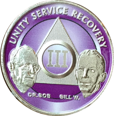 AA Founders Chip Nickel Plated Purple Alcoholics Anonymous Medallion Any Year 1 - 65 - RecoveryChip