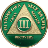 Green & Gold Plated Any Year 1 - 65 AA Chip Alcoholics Anonymous Medallion Coin