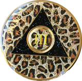 AA Medallion Leopard Animal Print Sobriety Chip Year 1 - 45 - RecoveryChip