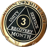 1 2 3 6 9 or 18 Month AA Medallion Elegant Black Gold and Silver Plated Sobriety Chip - RecoveryChip