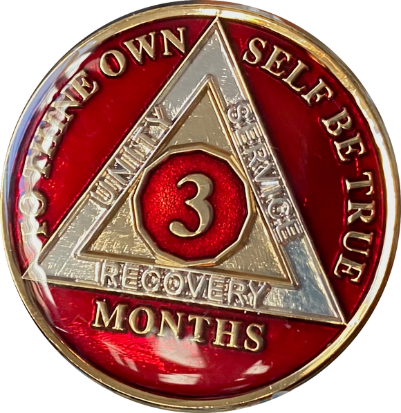 1 2 3 4 5 6 7 8 9 10 11 or 18 Month AA Medallion Metallic Mandarin Red Tri-Plate Sobriety Chip