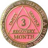 1 - 11 Month AA Medallion Reflex Pink Gold Plated Sobriety Chip Coin