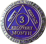 3 Month AA Medallion Reflex Purple Silver Plated Sobriety Chip Coin - RecoveryChip