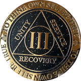1 2 3 4 or 5 Year AA Medallion Reflex Milky Way Glitter Black Gold Plated Sobriety Chip