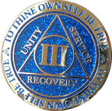 1 2 3 4 5 6 7 8 9 or 10 Year AA Medallion Reflex Glitter Blue Gold Plated Sobriety Chip - RecoveryChip