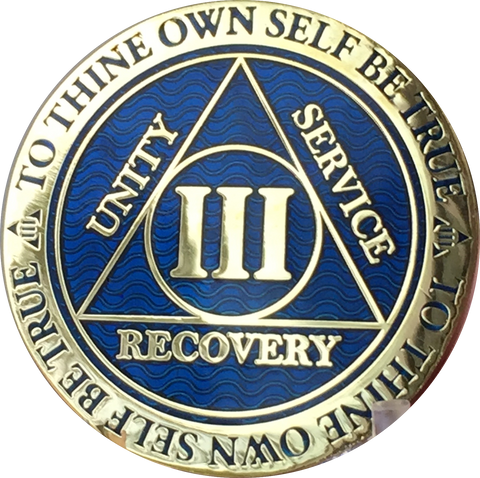 3 Year AA Medallion Reflex Blue Gold Plated Alcoholics Anonymous RecoveryChip Design - RecoveryChip
