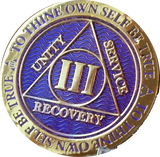 1 - 10 Year AA Medallion Reflex Purple Gold Plated Alcoholics Anonymous RecoveryChip Design - RecoveryChip