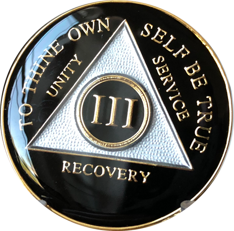 Black Gold Tri-Plate AA Medallion 24 Hours 18 Month Year 1 - 50 Sobriety Chip - RecoveryChip