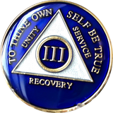 Metallic Blue Gold Tri-Plate AA Medallion 24 Hours 18 Month Year 1 - 45 Sobriety Chip - RecoveryChip