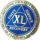 40 Year AA Medallion Reflex Blue Gold Plated Alcoholics Anonymous RecoveryChip Design - RecoveryChip